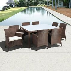International Home Atlantic 9-Piece Brown Wicker Wicker Dining Patio Dining Set With Off-White Cushion(S) Included