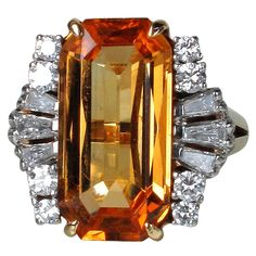 #Vintage #rings Natural Topaz Diamond Ring, ca. 1940 www.finditforweddings.com