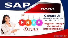 """SAP HANA TRAINING @ CSRCIND  https://csrcind.com/online-training/sap-hana/index.html  REACH US : +91 7207743377 / training@csrcind.com  #CSRCIND is one of the best Global #OnlineTraining Portal for the students.We are providing """"#SAP HANA"""" Training based on specific needs of the learners especially we will give innovative one to one classes which have great opportunities in the present #IT #market.Learners can grasp the technical #subject and practical knowledge from our highly experience."""