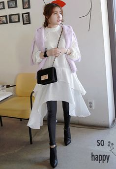 Miamasvin Raglan Sleeve Dress with Tiered Hems