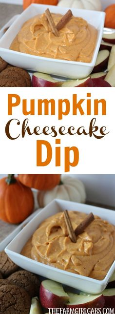 Looking for a simple sweet fall appetizer or dessert? This Pumpkin Cheesecake Dip recipe will have your guest begging for more! (Fall Sweet Recipes)