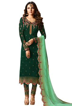 Ladyline Wedding Maslin Silk Embroidered Salwar Kameez Ready to Wear Partywear Indian Dress Cotton Salwar Kameez, Patiala Suit, Shalwar Kameez, Salwar Suits, Pakistani Suit With Pants, Suits For Women, Ladies Suits, Green Suit, Indian Dresses