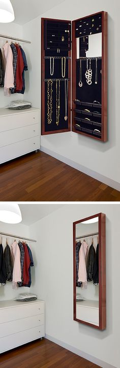 Wall-mounted jewelry armoire + mirror | cherry wood amoire