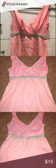 Walter pink silk sleeveless top with sequin trim Walter by Walter Baker pink silk layered sleeveless top. Has white, silver and pink sequin accents all the way around. Back zip. No stains. Just needs to be ironed! Walter Baker Tops Tank Tops