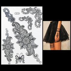 Cheap sticker butterfly, Buy Quality sticker for mobile phone directly from China stickers bear Suppliers: Fashion Flash Waterproof Tattoo Women Black Henna Jewel Lace Sexy Secret Arm Body Art Flower Temporary Tattoo Sticker Henna Body Art, Henna Art, Black Tattoos, Tribal Tattoos, Henna Canvas, Tattoos For Women, Tattoo Women, Hena, Chain Tattoo