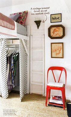 I am going gaga over this idea! Loft the bed to create more storage space. & 24 other great ways to compensate for tiny decorating before and after home design designs decorating interior design Small Apartments, Small Spaces, Small Rooms, Open Spaces, Tiny Closet, Closet Space, Loft Closet, Hidden Closet, Small Closets