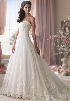 David Tutera ball gown with sweetheart neckline, embroidery, and lace embellishment I Style: 114275 I https://moncheribridals.com/