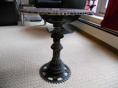 Bicycle Table Pic#2. Made from up-cycle bicycle chains, bike cassettes, etc... http://davesbikeartstuff.yolasite.com for more pics. thanks...or search Daves Bike Art Stuff on FB...subscribe it up Babes.