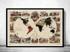 Old World Map pictorial missionary map of the by OldCityPrints