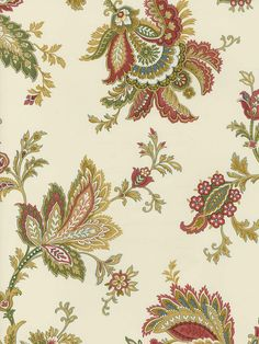 jacobean floral - printed fabric flowers soft pinks blues gold green on white cream
