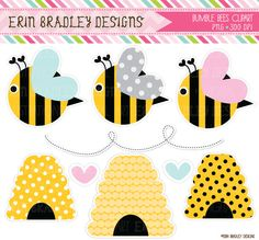 Bumble Bees Clipart Commercial Use Clip Art by ErinBradleyDesigns, $5.00