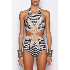 Stylish Halter Zig Zag One-Piece Swimsuit For Women