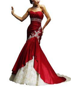 GEORGE BRIDE Elegant Strapless Satin Mermaid Wedding Dress Evening Dress With Beaded Detail Size 2 Red GEORGE BRIDE,http://www.amazon.com/dp/B00BB7R0KO/ref=cm_sw_r_pi_dp_7.NYrb536F564DBC