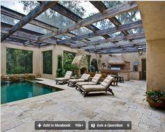 Pergola with glass top , patio structure / http://www.houzz.com/photos/outdoor/glass-pergola-