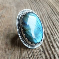 Labradorite Ring in Oxidized Sterling Silver  by christinewalsh