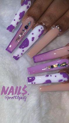 Purple Acrylic Nails, Long Square Acrylic Nails, Best Acrylic Nails, Purple Nails, Manicure, Gel Nails, Nail Nail, Nail Glue, Glitter Nails