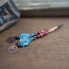 long tribal earrings • blue patina copper chandelier earrings • red glass beads • boho earrings • rustic earrings • elongated earrings by entre2et7 on Etsy