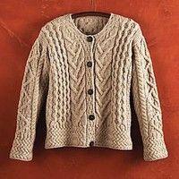 National Geographic Carraig Donn Wool Cardigan/Aran Knit Sweater from Ireland