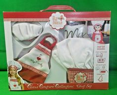 Elf On the Shelf Child & Elf Apron Hat Chef Set Claus Couture Collection New #ElfOnTheShelf #Christmas