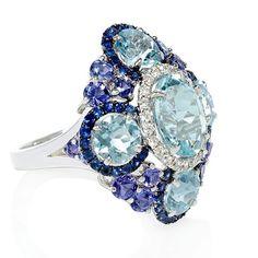 Firenze | Aquamarine, Sapphire, Tanzanite, & Diamond Ring