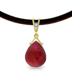 """17"""" Brown Leather Necklace with 8ct Genuine Ruby Pendant"""