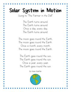 Earth for solar system unit - do we still have time in the year for the fun stuff? - Space Lesson Plans for Kindergarten. Students will learn about the phases of the moon. With reading, writing, math, crafts, and more. Fun activities for classrooms. Space Preschool, Preschool Songs, Kindergarten Science, Science Classroom, Teaching Science, Science Activities, Planets Preschool, Science Poems, Solar System Activities