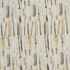 Beige or Tan or Taupe and Gold or Yellow and Gray or Silver and White or Off-White color Abstract or Geometric pattern Linen or Silk-Looks and Print type Upholstery Fabric called by KOVI Fabrics
