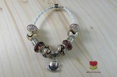 Coffee Bracelet - European Bracelet - Coffee Cup Charm Bracelet - Latte Mug Charm - Coffee Mug Charm - Cafe Bracelet - Euro Beads Bracelet