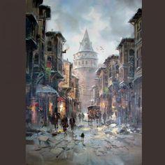 (Turkey) Galata Kulesi by Remzi Taskiran ). Pictures To Paint, Art Pictures, Painter Photography, Turkey Drawing, Turkish Art, Great Paintings, Historical Art, Landscape Illustration, Islamic Art