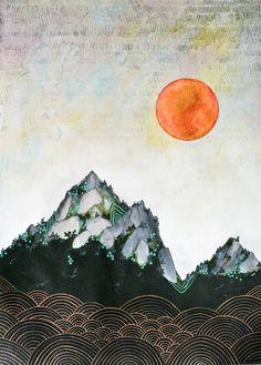 """Cathy McMurray """"Autumn Sun"""" 2012  38.1 x 50.8 cm mixed media (watercolour, gouache, acrylic, pencil, oil pastel, pen)"""