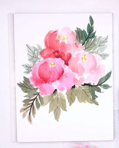 Realistic Flower Drawing, Cute Flower Drawing, Flower Art, Peony Flower, Peony Drawing, Beautiful Flower Drawings, Tree Peony, Watercolor Flowers Tutorial, Pink Watercolor