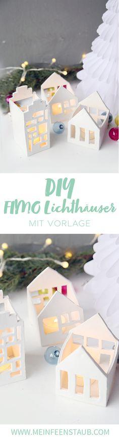 Kreative DIY Deko Idee für Weihnachten zum Selbermachen: Kleine Lichthäuser für Teelichter aus FIMO einfach selbermachen | mit DIY Step by Step Tutorial
