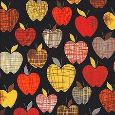 Alexander Henry - Farmdale Orchard, Black Fruit Crafts, Food Crafts, Autumn Crafts, Fall Crafts For Kids, Jewish Crafts, Apple Theme, Kitchen Decor Themes, Art Plastique, Art Activities