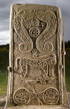 Symbols on the reverse of a Pictish cross slab, known as 'Rodney's Stone', from Dyke Parish Church, Brodie, Moray in Scotland