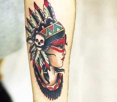 Incredible 3 colors traditional old school tattoo style of Native American Girl motive done by artist Pedro Goes Old Tattoos, Arrow Tattoos, Cute Tattoos, Girl Tattoos, Traditional Tattoo Native American, Go Tattoo, Face Tattoos For Women, Native American Girls, Tattoos Gallery