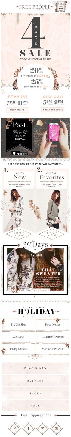 Free People Special Event Newsletter Flyer | Bohemian Graphic Design Layout | Blogging Inspiration | Editorial Ideas | Feminine Niche