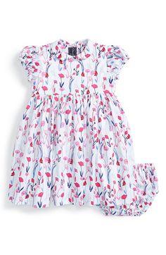 Oscar de la Renta Floral Print Dress & Bloomers (Baby Girls)