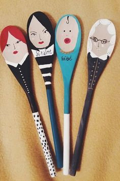 hand painted wooden spoon dolls