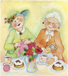 Solve Våra kära barnbarn jigsaw puzzle online with 360 pieces Growing Old Together, Old Folks, Good Morning Friends, Happy Friends, Naive Art, Best Friends Forever, Illustrations, Whimsical Art, Cute Illustration