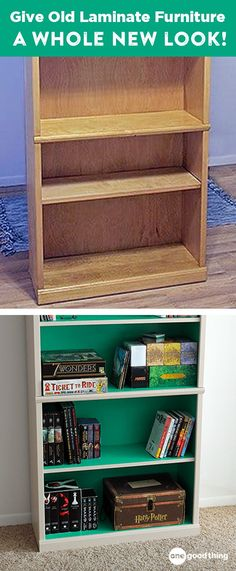 Giving Old Laminate Furniture A Whole New Look! Giving Old Laminate Furniture A Whole New Look! Laura Bergen New house Painting laminate furniture can be intimidating but […] board furniture makeover Refurbished Bookcase, Painted Bookshelves, Cool Bookshelves, Bookshelf Design, Bookshelf Ideas, Bookcase Upcycle, Diy Bookcases, Bookcase Wall, Refurbished Furniture