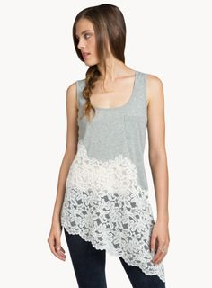 Johnny Was: Lace Bottom Tank - make this from an old tank top!
