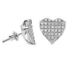 Diamond Heart Shape Women Stud Earrings in 10k White Gold (0.23 ctw)