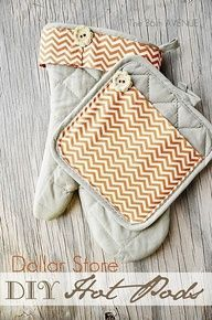DIY Dollar Store Hot Pads     I bet these would sell good in some of the cool home decor fabrics since it's so hard to find anything decent at the store