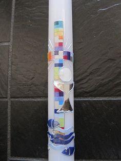 """Kommunionkerzen - Tauf-/Kommunionskerze """"Mosaikkreuz und Fische"""" - ein Designerstück von Kerzenschmuck bei DaWanda"""