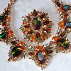 Vtg Verified Juliana D E Heliotrope Watermelon Rhinestone AB Set Necklace Brooch | eBay