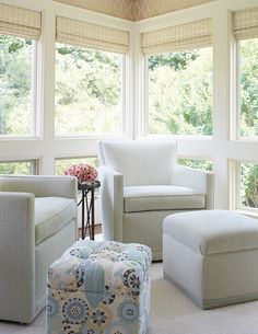furniture for sunrooms. sunroom features a pair of gray velvet chairs paired with ottoman and furniture for sunrooms