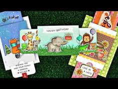 Lawn Fawn - Intro to Double Slider Surprise + 3 cards from start to finish_ Create a fun interactive card to delight your friends and family! Tarjetas Pop Up, Lawn Fawn Blog, Simon Says Stamp Blog, Slider Cards, Lawn Fawn Stamps, Interactive Cards, Animal Party, Folded Cards, Cool Cards