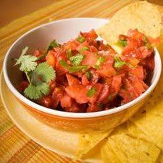 Strawberry Salsa --- INGREDIENTS: strawberry, Roma tomato, jalapeño, garlic cloves, lime, extra virgin olive oil
