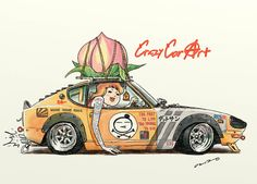 "car illustration ""crazy car art"" jdm japanese old school ""S30Z "" original cartoon ""mame mame rock"" / © ozizo"