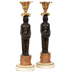 Pair of Patinated and Ormolu Bronze Figural Candlesticks | 1stdibs.com
